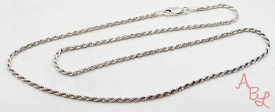 """Sterling Silver Vintage 925 Rope Chain Necklace 18"""" (6.3g) - 716849"""