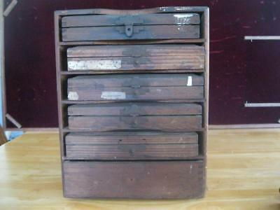 Vintage Kingsley Stamping Machine Cabinet with Six Drawers & Accessories