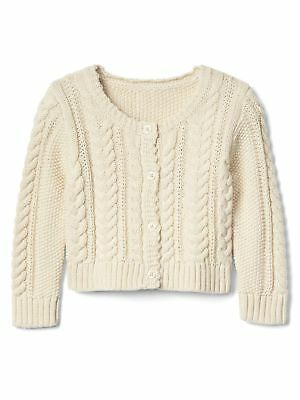 NWT Baby Gap Girls Size 18 24 Months Ivory Cable Knit Button Cardigan  Sweater f29eadc83