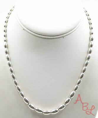 Sterling Silver Vintage 925 Oval Beaded Necklace 16'' (20.3g) - 717319