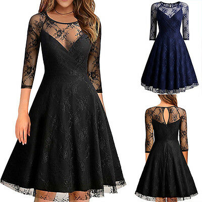Damen Ärmello Abendkleid Spitzenkleider Party Knielang Ball Pencil Kleid Gr46-56