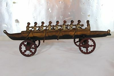 Antique Cast Iron Toy U.S. HARDWARE 9 MEN ROWING SCULL Very Rare No reserve