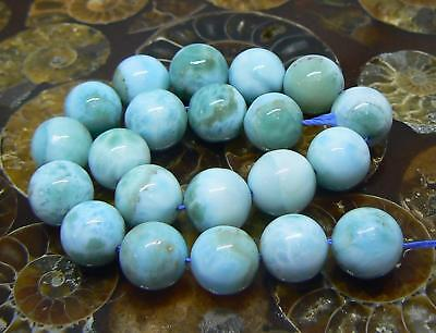 21 NATURAL CARIBBEAN BLUE LARIMAR ROUND SPHERE BALL BEADS 8.5-9mm 100cts AAA+++