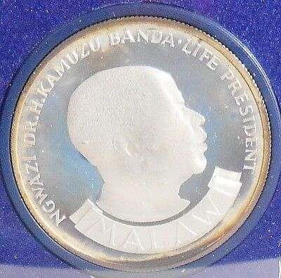 1974 MALAWI 10th ANNIVERSARY OF INDEPENDENCE .925 STERLING SILVER TEN KWACHA