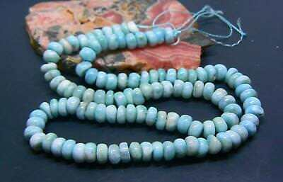 "NATURAL CARIBBEAN BLUE LARIMAR RONDELLE BEADS 6.-6.5mm 141cts 16"" STRAND"
