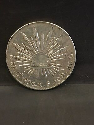 1896 Mexico 8 Real Silver Coin XF Plus