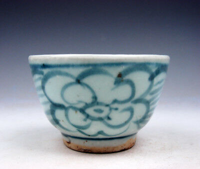 Antique Blue&White Glazed Porcelain Flower Blossoms Hand Painted Cup #01231805R