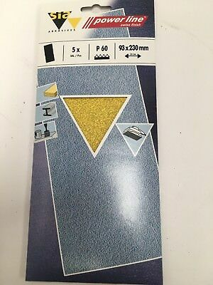 New sanding strip sia power line 60 grit pack of 5, 93 x 230 mm sand paper