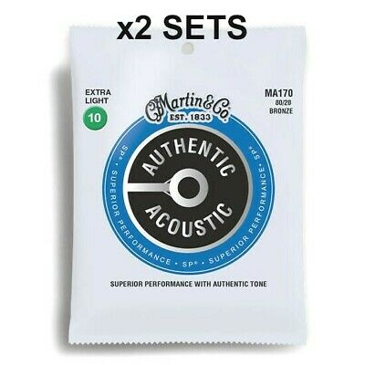 x2 MARTIN M170 ACOUSTIC GUITAR STRINGS EXTRA LIGHT 80/20 BRONZE GAUGE 10-47 *NEW