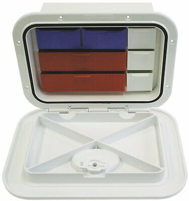 Deluxe Model Opening Storage Hatches - Size A, White, With Box And Tackle Trays