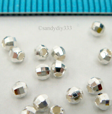 50x BRIGHT STERLING SILVER LASER CUT DISCO MIRROR ROUND BEAD 2.3mm 2.5mm #2263