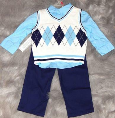 12 months Boys 3 PC Dressy Sweater Vest Pants Special Occassion Church Wedding
