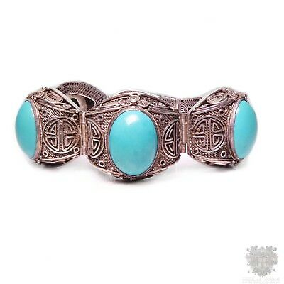 Antique Chinese export silver natural turquoise gem bracelet bangle art deco