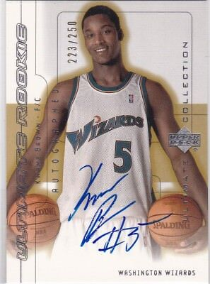 Ultimate 01-02 Rookie Autograph #90 Kwame Brown #/250 !!ON CARD!! WIZARDS