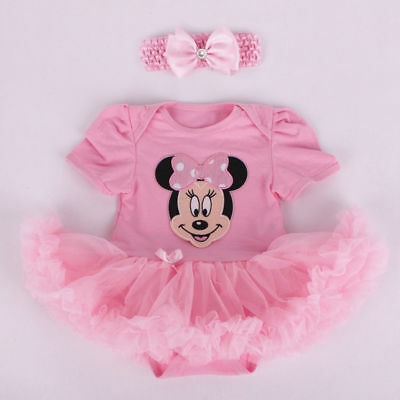 BABY GIRL MINNIE MOUSE ROMPER TUTU COSTUME with free headband - SIZE 000-2