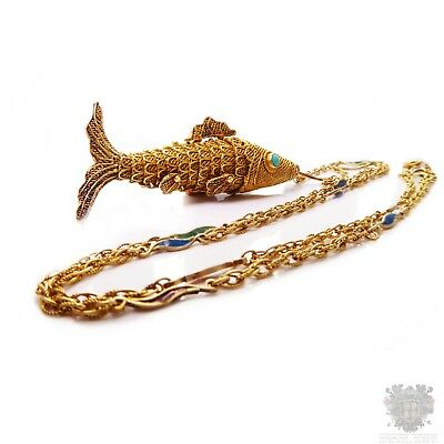 Vintage Chinese export silver gilt fish pendant enamel chain necklace turquoise