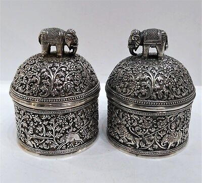 Antique Silver-Plate Elephant Tobacco Jars, Kutch Style, Elkington & Co, 1874