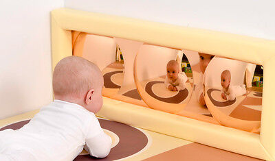 Child's Mirror w/ soft frame, Sensory Bubble Mirror GOLD, Select Colour (M3009)