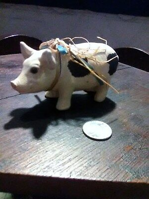 Black and White Resin Pig with Glass Eyes Figurine