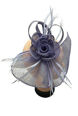 Race Occasion Royal Ascot Headband Clip Flower Wedding Hat Lilac Fascinator