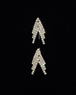 Vintage 1930's Art Deco Clear Rhinestone 2 Piece Arrow Bar Pin Stick Pin  2 1/8""