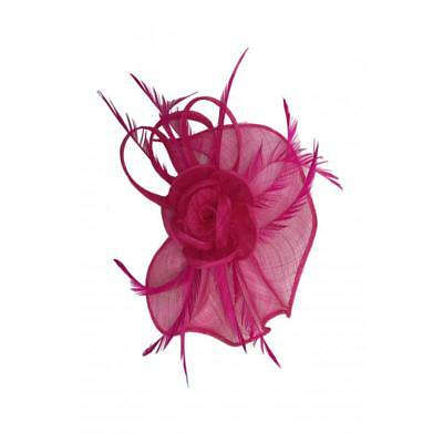 Race Occasion Royal Ascot Headband Clip Flower Wedding Hat Fuschia Fascinator