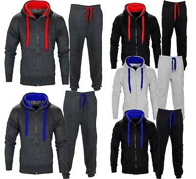 Kids Contrast Tracksuit Boys Fleece Hoodie Set Top Jogging Bottoms Gym