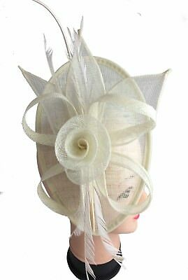 Ladies Day Cream Fascinator Wedding Hat Ascot Races Headband Clip Hair UK