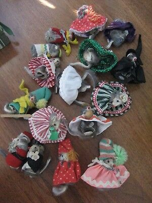 Lot Vintage W. German Mouse House Fur Toys Little Mouse Factory Mice Toy Outfit