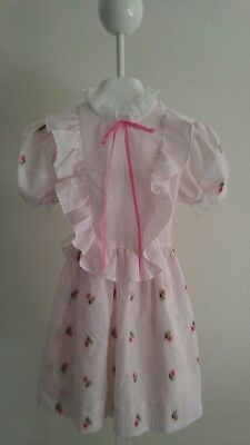 Vintage Unbranded Girl's Floral Embroidered Lace Ruffle Dress~ size  5