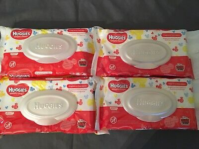 4 Huggies Simply Clean Fragrance Free 32 ct Baby Wipes Mickey Mouse Disney NEW