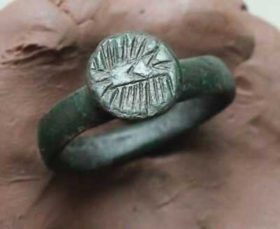 L6  Ancient Medieval Bronze  Ring Size D=22mm Quality 7g