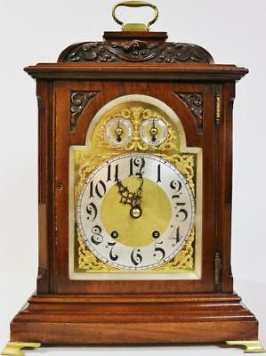 Antique German W & H Carved Mahogany Musical Ting Tang 1/4 Strike Bracket Clock