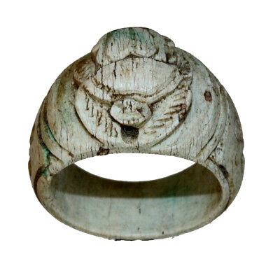 Undated Massive Egyptian Glazed Ring With Scarab Ot The Top