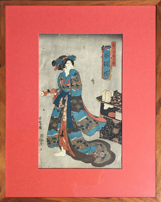 Japanese Antique Woodblock Print, Toyokuni III, Matted, Framed, 1850's