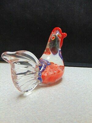 ❤ Hand Blown STANDOUT ROOSTER Glass Paperweight Millefiori