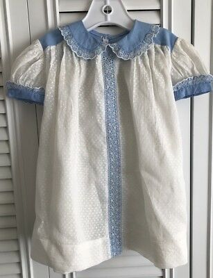 Vintage White And Blue Sheer Party Easter Dress
