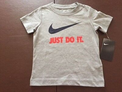 NWT Nike Boys Toddler Short Sleeve T Shirt JUST DO IT Gray 2T 769461-G2P $18