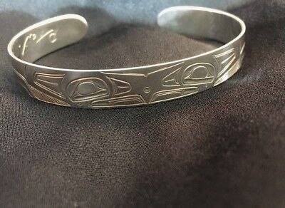 Pacific Northwest Native American Cuff Bracelet Hand-Engraved Sterling Silver