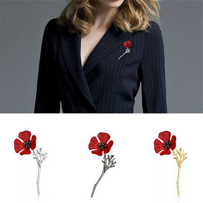 Women Fashion Jewelry Vintage Red Flower Wedding Party Corsage Alloy Brooch Pin
