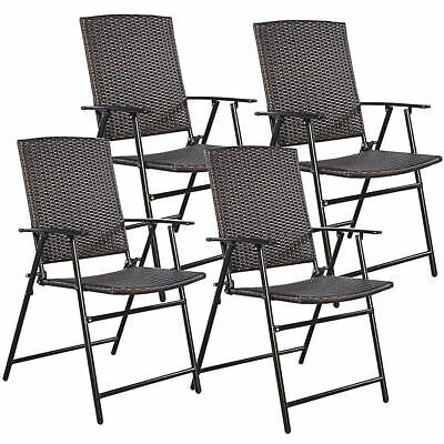 4 Outdoor Folding Brown Rattan Dining Chairs Patio Furniture Set Garden Wedding