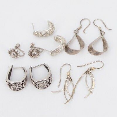 VTG Sterling Silver - Lot of 5 Mixed Pairs of Earrings NOT SCRAP - 19g