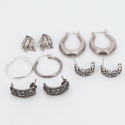 VTG Sterling Silver - Lot of 5 Mixed Pairs of Earrings NOT SCRAP - 21g