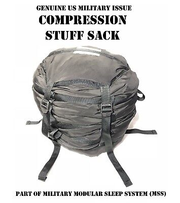 Us Military Issue Compression Stuff 9-Strap Black Backpack Liner Mss Camping Vgc
