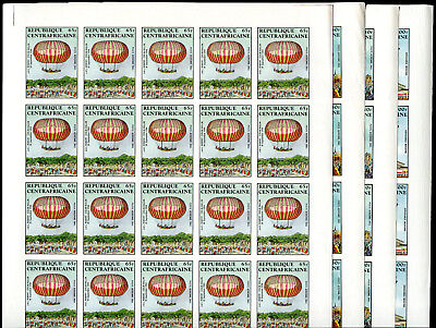 CENTRAL AFRICA 1983 Flight Air Mail set 4 complete IMPERFORATE sheets of 25 MNH