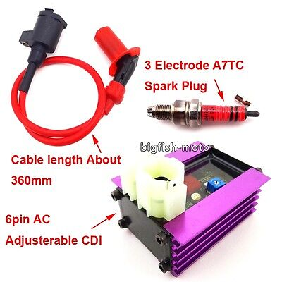 Adjusterable CDI Ignition Coil Spark Plug For 50cc 125cc 150cc ATV Scooter Moped