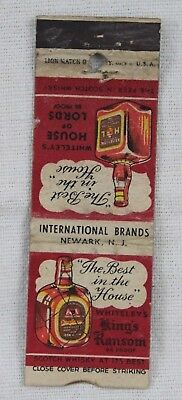 Vintage HOUSE OF LORDS Whitleys Scotch Whiskey advertising matchbook cover