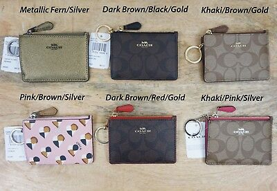 New COACH Mini Skinny ID Wallet Case Pouch Coin Purse Key Chain