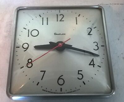 "Vintage  Simplex Time Recording Co. 10"" X 10"" Square Hard Wired Clock"