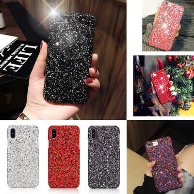 For iPhone 7 Plus 6s 8 X Shockproof Bling Glitter Sparkle Hard case Cover Luxury